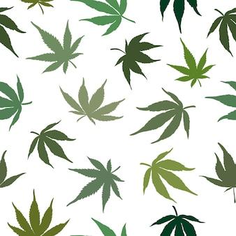 大麻は白い背景のシームレスなパターンに残します