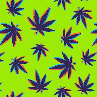 Cannabis leaves pattern with glitch effect