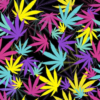 Cannabis leaves seamless pattern on black background.
