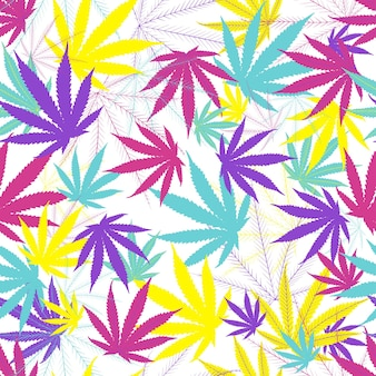 Cannabis leaves seamless pattern on withe background.