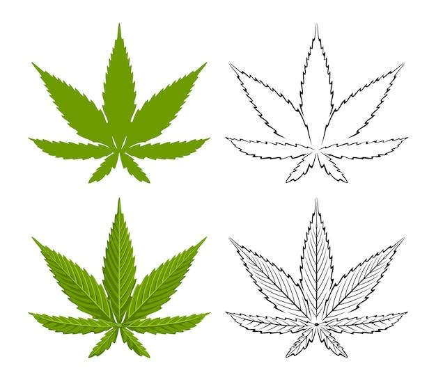 大麻の葉セットイラスト