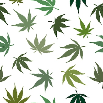 Cannabis leaves on a white background seamless pattern