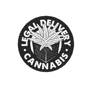 手描きのビンテージスタイル、プレミアムベクトルと大麻リーガルスタンプ