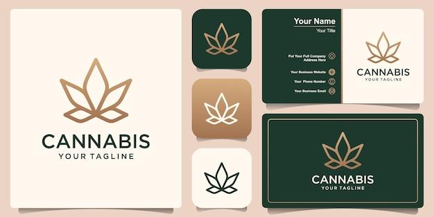 Cannabis line art logo and business card design