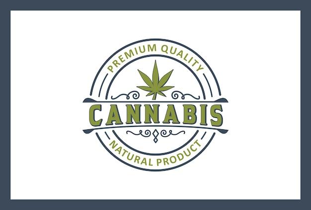 ビンテージスタイルの大麻ロゴデザイン。オーガニック製品。プレミアム品質。