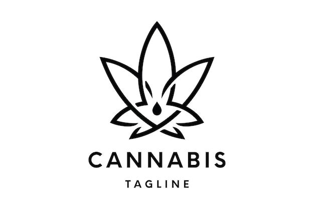Cannabis logo or hemp logo vector template Premium Vector