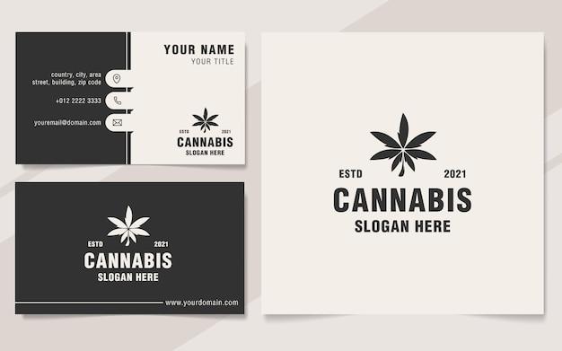 Cannabis logo template on monogram style