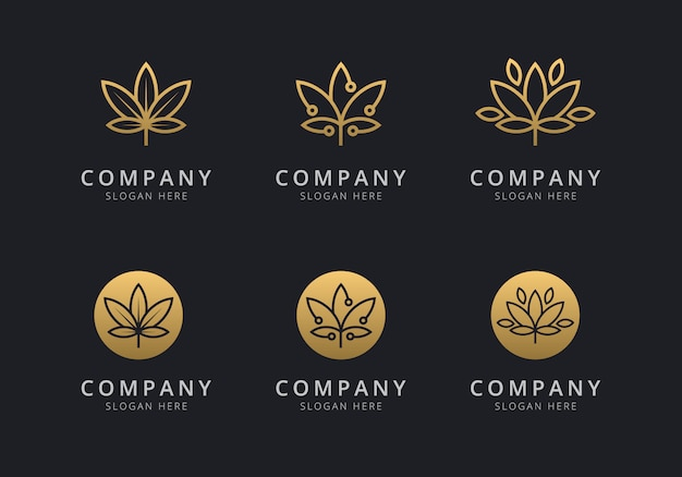 Cannabis logo template with golden style color for the company