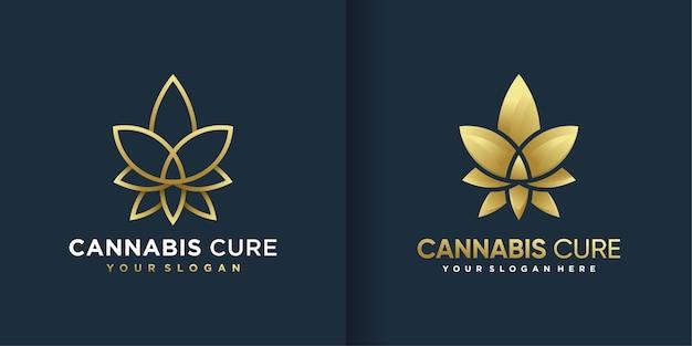 クールなグラデーションのゴールデンラインアートスタイルと名刺デザインの大麻ロゴ