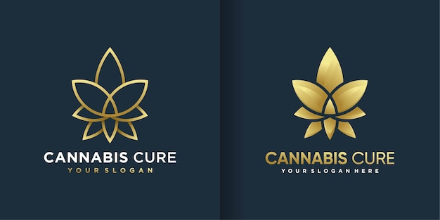 Cannabis logo with cool gradient golden line art style and business card design