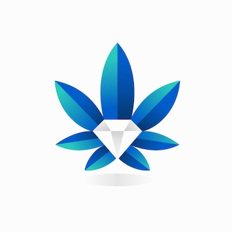 Логотип каннабиса с бриллиантовой концепцией
