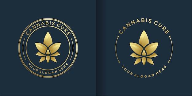 金色のエンブレムラインアートスタイルと名刺デザインの大麻ロゴ