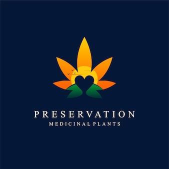 日没の概念を持つ大麻愛好家のロゴ