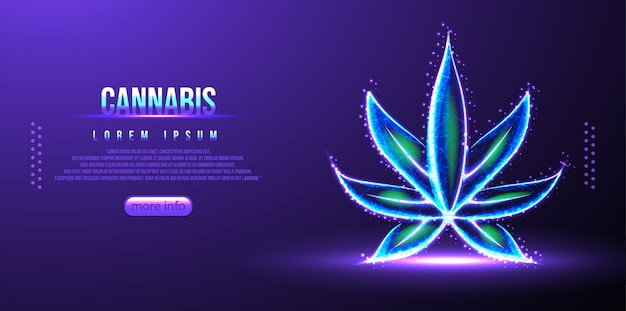 Cannabis low poly wireframe