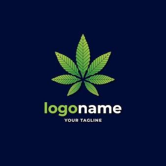 한약을위한 대마초 마리화나 대마 잎 로고 그라디언트 스타일