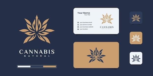 大麻マリファナ麻のロゴデザインテンプレート。