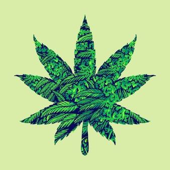Иллюстрации листьев конопли марихуаны