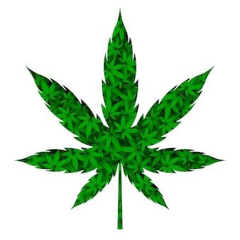 Papercut 스타일의 대마초 마리화나 잎