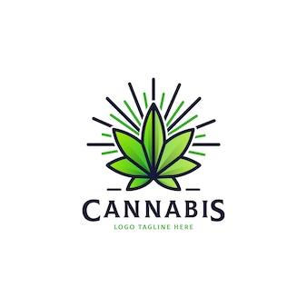Cannabis marijuana leaf vintage logo