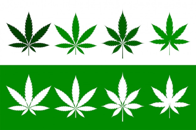 Cannabis marijuana weed leaves set in flat style