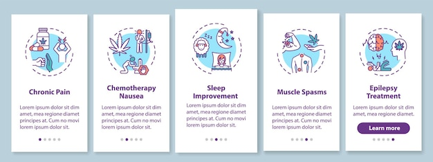 Cannabis medical use onboarding mobile app page screen with concepts. chronic pain treatment walkthrough 5 steps graphic instructions. ui vector template with rgb color illustrations