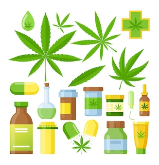 Cannabis medicine cartoon  medical marijuana set with hemp oil glass bottle, cannabis extracts