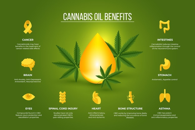 Infografica sui benefici per la salute dell'olio di cannabis
