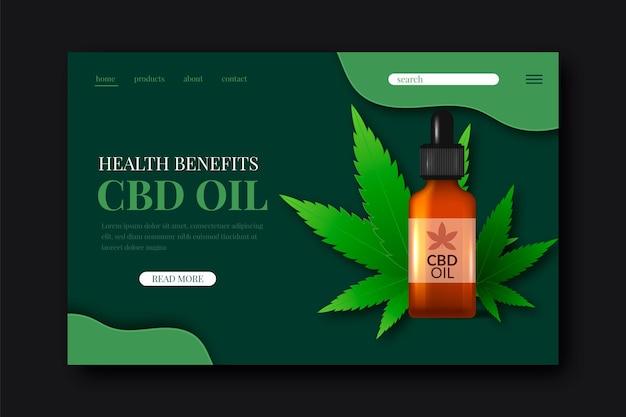 Modello di pagina di destinazione dell'olio di cannabis