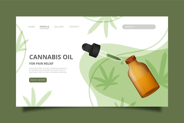 Cannabis oil web template illustrated