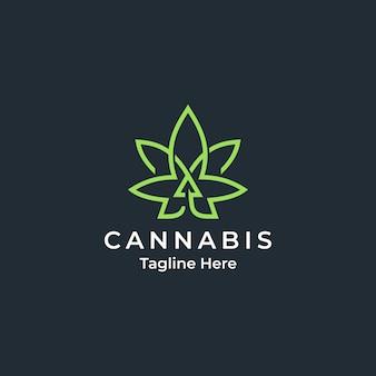 矢印成長ロゴデザインの大麻または麻ビジネス