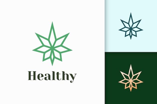 마약이나 허브를 위한 간단하고 현대적인 대마초 또는 마리화나 로고