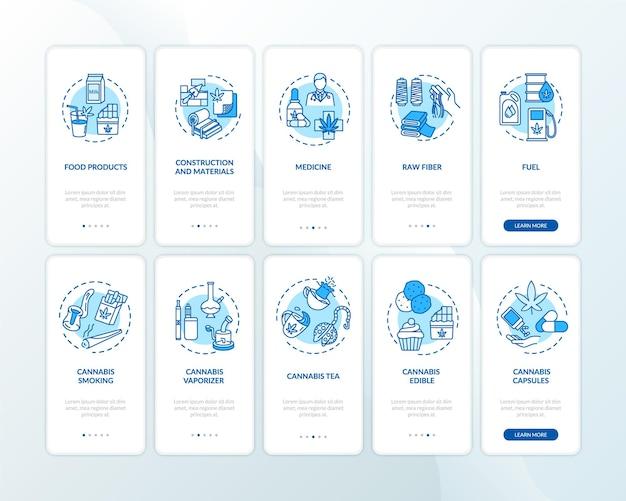 개념이 설정된 모바일 앱 페이지 화면을 온보딩하는 대마초 제품. 의료 및 레크리에이션용 대마 5단계 그래픽 지침을 안내합니다. rgb 컬러 일러스트가 있는 ui 벡터 템플릿