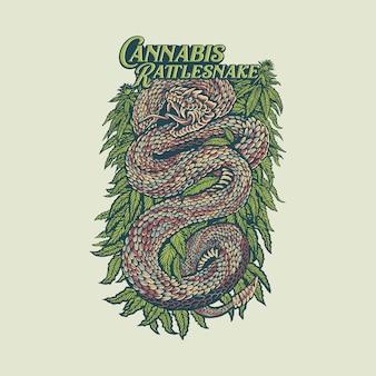 Cannabis rattlesnake vintage hand drawn illustration