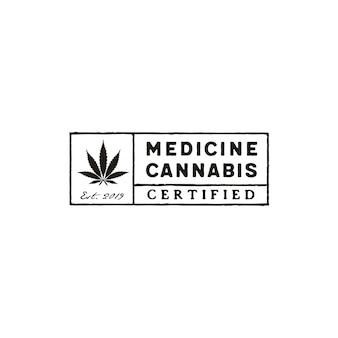 Cannabis rectangle stamp logo design