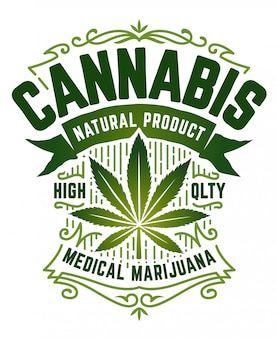 Cannabis retro style emblem. green emblem with marijuana leaf, ribbon and vintage patterns  on white.  art.