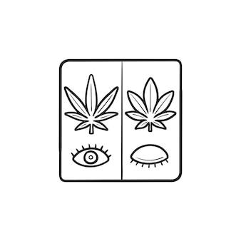 대마초 사티바와 대마초 인디카는 밤낮으로 손으로 그린 윤곽선 낙서 아이콘을 사용합니다. 의료 잡초 개념입니다. 인쇄, 웹, 모바일 및 흰색 배경에 인포 그래픽에 대한 벡터 스케치 그림.