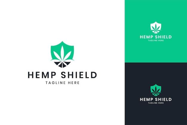 大麻シールドネガティブスペースのロゴデザイン