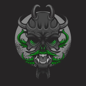 Cannabis skull suitable for t-shirt illustration