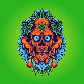 Cannabis skull with weed smoke illustration