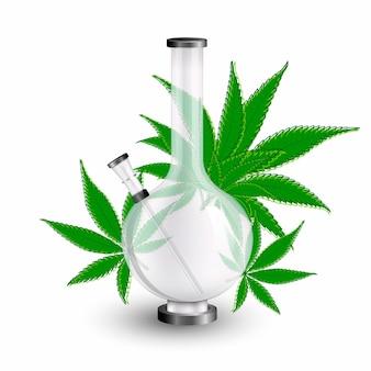 白い背景で隔離の大麻喫煙ボンとマリファナの葉
