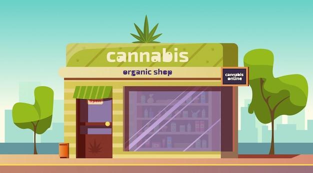 Negozio di cannabis, prodotti di marijuana in negozio biologico