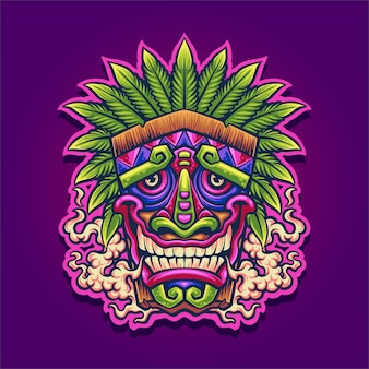 Cannabis tiki mascot illustration