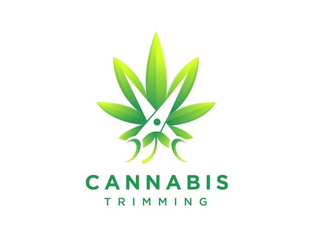 大麻トリミングロゴ、収穫ロゴ、大麻、はさみのロゴのテンプレート