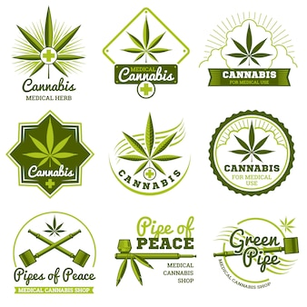 Cannabis vector logos and labels set
