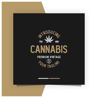 Cannabis vintage logo design  stock