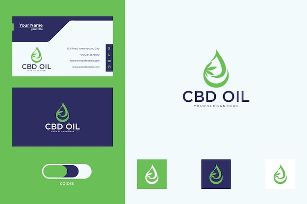 Cannabis with oil logo design and business card