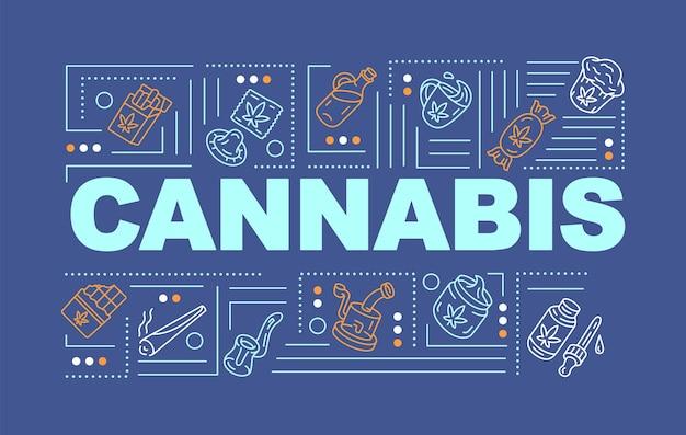 대마초 단어 개념 배너입니다. 레크리에이션 및 의료용 마리화나. 파란색 배경에 선형 아이콘이 있는 천연 대마 제품 인포그래픽. 고립 된 인쇄 술입니다. 벡터 개요 rgb 컬러 일러스트