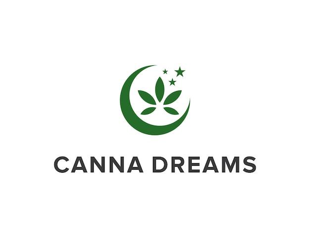 달과 별이 있는 대마초 잎 단순하고 매끄러운 창조적 기하학적 현대 로고 디자인