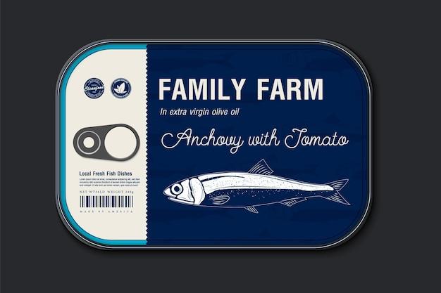 缶詰のカタクチイワシのラベルテンプレート、ラベルカバー付きのベクトル魚缶、パッケージデザインコンセプト