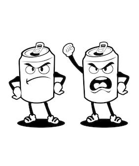ベクトルで缶詰の飲み物のマスコット漫画